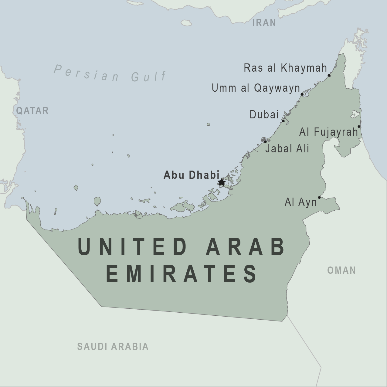 Health Information For Travelers To United Arab Emirates - Map of united states without names