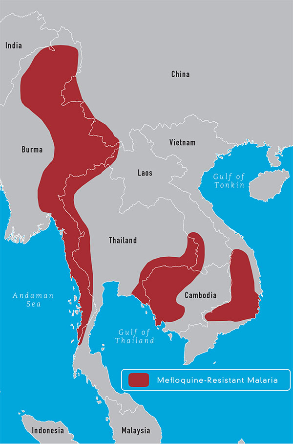 Map 3-11 Geographic distribution of mefloquine-resistant malaria