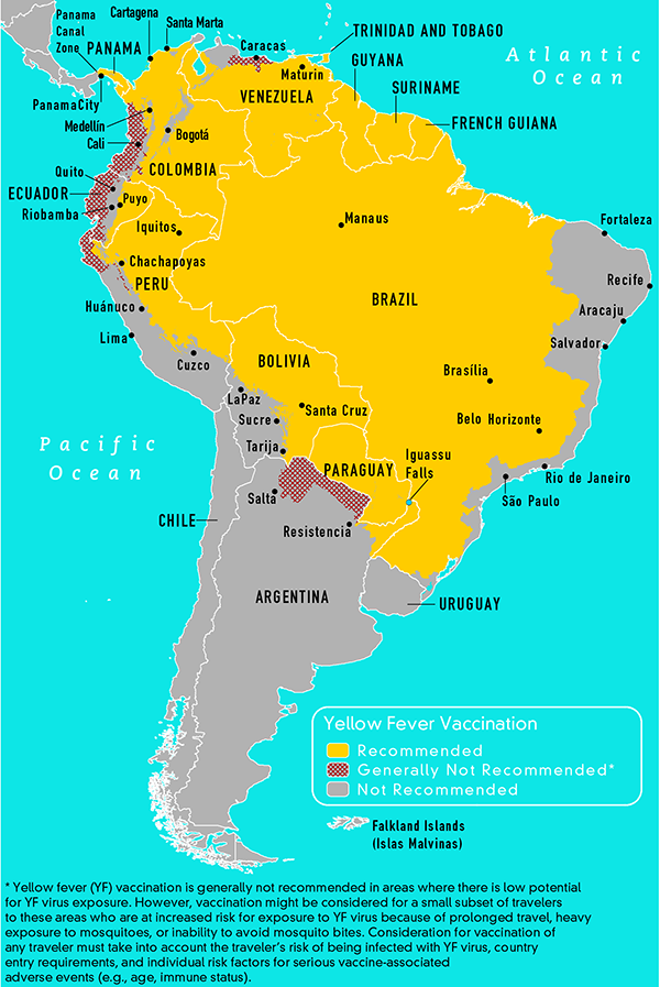 Map 3-19 Yellow fever vaccine recommendations in the Americas, 2010