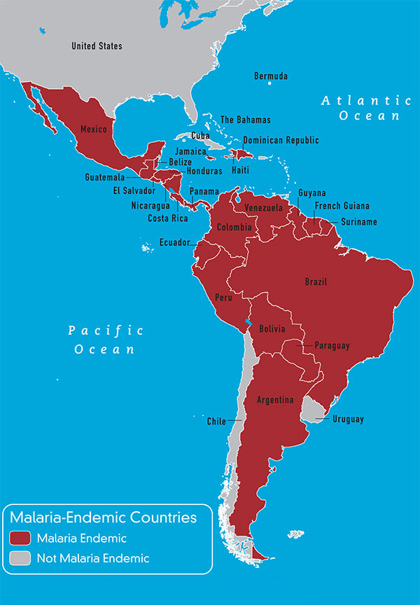 Map 3-9 Malaria-endemic countries in the Western Hemisphere