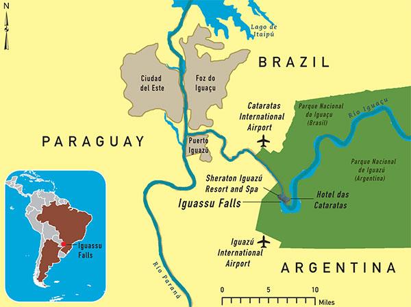 where is iguazu falls in brazil located