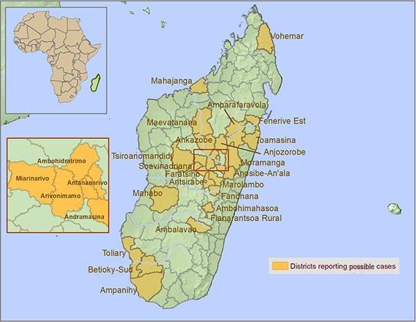 Map of Madagascar showing areas with plague. The most affected districts and cities include Antananarivo (the capital city and its suburbs), Toamasina, and the rural district of Faratsiho. Cases have also been reported in Ambatondrazaka, Ambohidratrimo, Andramasina, Ankazobe, Anosibe An'ala, Anta-Atsimondrano, Anta-Avaradrano, Anta-Renivohitra, Arivonimamo, Faratsiho, Maevatanana, Mahajanga I, Miarinarivo, Moramanga, Toamasina I, Toamasina II, Tsiroanomandidy, Vohémar, and Ambalavao.
