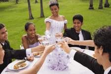 teenagers gathered for quinceanera celebration