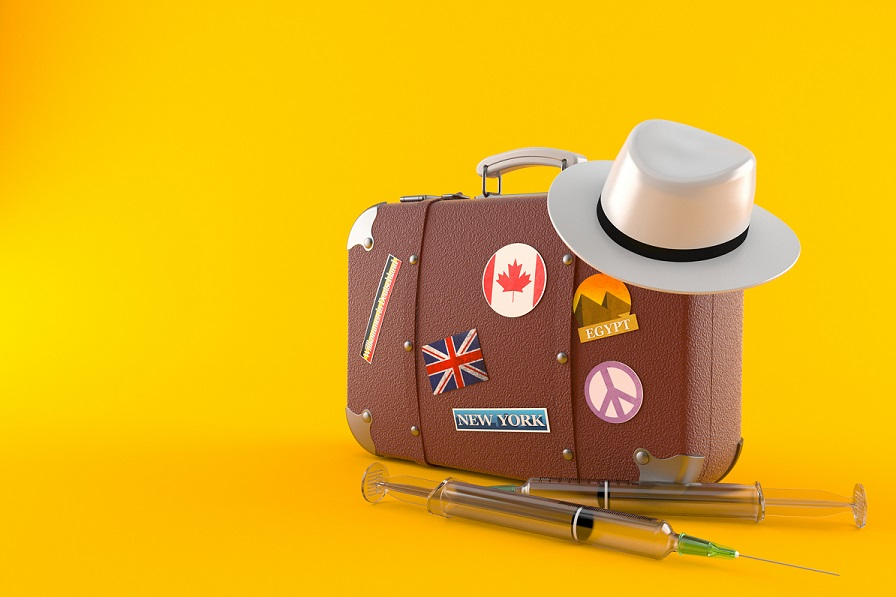 suitcase on yellow background