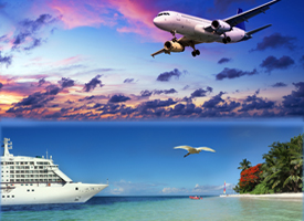 Cruise ship and airplane