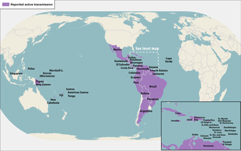 World map showing reported active transmission of Zika